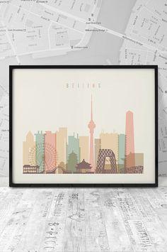 Beijing skyline Beijing Print Printable Poster by ArtFilesVicky