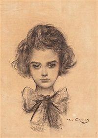 Portrait of a girl by Ramon Casas
