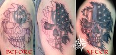 Cover-up Tattoo, Tattoo Cover, Skull Tattoo, Police Tattoo, Thin Blue LIne Tattoo