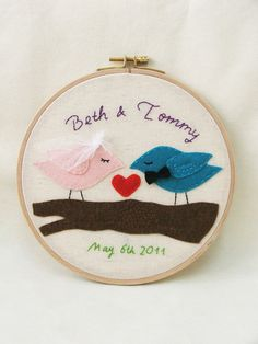Personalized love birds, customized embroidery hoop wall art bride and groom GREAT WEDDING DECOR, keepsake