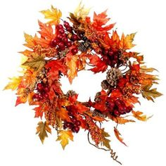Harvest Collection 24 inch Maple Rose Hip Wreath, Multicolor