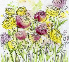 Original Little Watercolor and Pen & Ink Abstract Spring Flowers