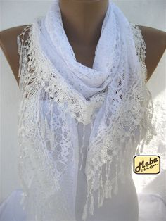 Triangular White Lace Scarf with Trim Edge-White Shawl on Etsy, $17.90