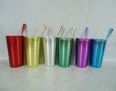 Six Vintage Colored Aluminum Tumblers  - Mid Century Kromex Spun Aluminum Tumblers with Tallstirrs