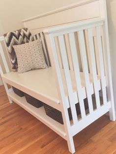 Repurpose crib to bench, DIY, navy wife, military, nurse, registered nurse