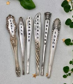 Buy Herb Markers Set 6 GARDEN stakes Made From Vintage Spoon Handles Oregano Basil Parsley Rosemary Thyme Dill. Herb Labels, Garden Labels, Plant Labels, Herb Markers, Plant Markers, Silverware Art, Stamped Spoons, Garden Stakes, Garden Signs
