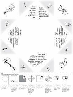 Wedding cootie catcher idea for each table. Wedding Table Games, Wedding Favours, Diy Wedding, Dream Wedding, Wedding Games For Guests, Wedding Paper, Gold Wedding, Wedding Ideas, Cootie Catcher Template
