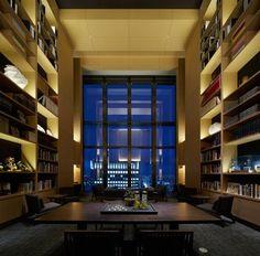 Aman Tokyo Japan library city view at night