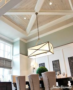Would you love this wood ceiling design in your dining room?