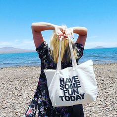 The Have Some Fun Today Tote Bag - $40. Zip closure with an inside zip pocket.