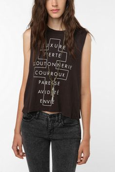 "Truly Madly Deeply French Cross Text Muscle Tank Top -- ""Yes, you should get this."""