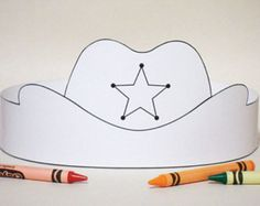 Create your own Cowboy Hat Crown! Print, color, cut & glue your crown together & adjust to fit anyones head! Cowboy Hat Crafts, Western Crafts, Rodeo Crafts, Wild West Crafts, Preschool Crafts, Crafts For Kids, Anniversaire Cow-boy, Chapeau Cowboy, Wild West Theme
