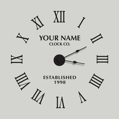 Large Roman Numeral Vinyl Wall Clock Complete with Working Clock  -  Personalized Name & Date  by Katazoom