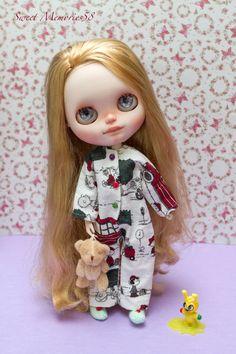 Blythe - Onesie kombinézu pyžamo v flanel s háčkování pantofle pro čistý Neemo (XS, S a M), salonku Licca a akciových orgánech