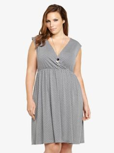 309e23a6e0ede Polka Dot Surplice Dress Trendy Plus Size Clothing