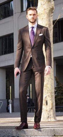 Brown Suit, White Dress Shirt, Purple Neck Tie | Men's Fashion & Style | Shop Menswear, Men's Clothes, Men's Apparel & Accessories at designerclothingfans.com | Find Sport Coats, Blazers, Suits, Shirts, Polos, Pants/Trousers and More...