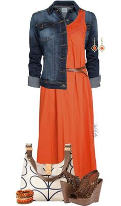 21 Bright and Beautiful Ways to Wear Orange This Summer Fancy Maxi Dress, Dress Skirt, Maxi Skirts, Summer Maxi Dress Outfit, Maxi Dress Outfits, Maxis, Denim Maxi Dress, Orange Dress Outfits, Denim Dresses