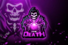 The Death - Mascot & Esport logo ~ Logo Templates ~ Creative Market Team Logo Design, Mascot Design, Game Design, Design Art, Logo Esport, Logos Color, Ghost Logo, Logos Ideas, Esports Logo