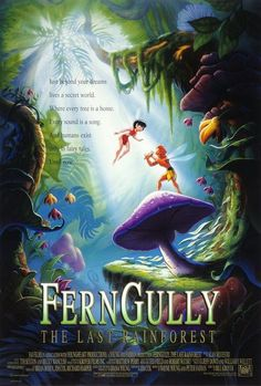 Directed by Bill Kroyer. With Samantha Mathis, Christian Slater, Robin Williams, Tim Curry. The magical inhabitants of a rainforest fight to save their home, which is threatened by logging and a polluting force of destruction called Hexxus (Tim Curry). Samantha Mathis, Fern Gully, Romantic Comedy Movies, Romance Movies, Nostalgia, Audio Latino, Dream Live, Tim Curry, Adventure Movies