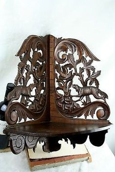 huge Black forest style wood carved wall shelf 1930 Germany dogs birds rare