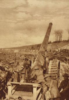 British artillery position on the Somme , WW1, Great War, World War One, 1914…