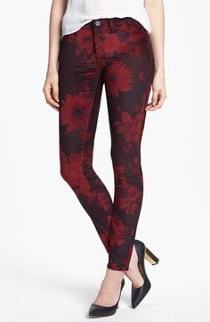 <3 Floral Velvet Skinny Pants