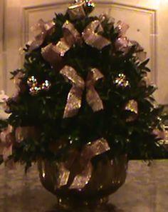 Gold Ribbon and Glass Ball Boxwood Tree