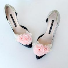 lace pink flower Bridal Shoe Clips,Shoe Clips,Wedding Clips