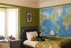 Blue and Green Room with Huge Map (not the right color green for me) but right idea.
