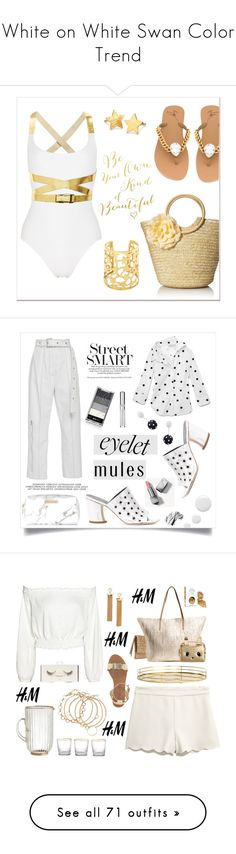 """White on White Swan Color Trend"" by yours-styling-best-friend ❤ liked on Polyvore featuring Giuseppe Zanotti, Pernille Corydon, gold, FlipFlops, strawbags, metallicswimwear, Proenza Schouler, Monse, Topshop and Spectrum"