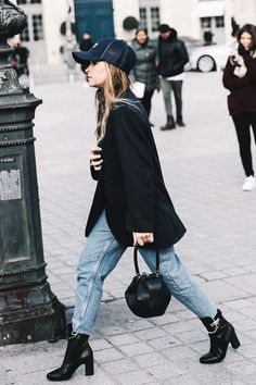 How to style light denim with black patent leather booties