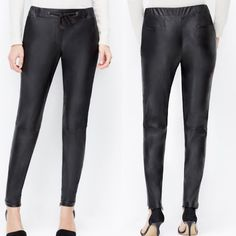 Ann Taylor Vegan Leather Joggers NWT Brand new with tags, vegan leather (faux), seam on the knee lines, as seen on numerous celebrities and bloggers, labeled size 6P but can fit a normal size 6, NO TRADES Ann Taylor Pants Track Pants & Joggers