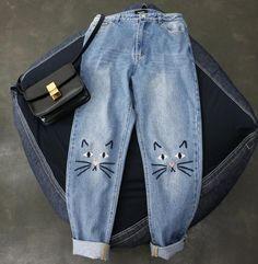 "Cute cat printing jeans SE9801 Coupon code ""cutekawaii"" for 10% off"