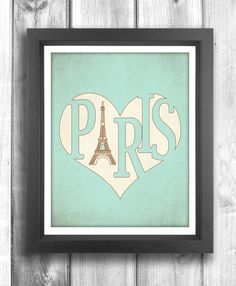 Paris Poster, Typographic print, Vintage poster, Eiffel Tower print, retro print, wall decor, Digital print, Teal Sign - 11x14 - Typography. $20.00, via Etsy.