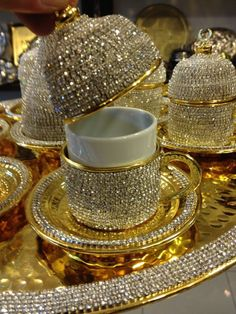 Handmade Copper Turkish Coffee Espresso Serving Cup Swarovski Crystal