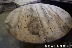 """70"""" Round Reclaimed Wood Pedestal Table - Ontario Barn Wood Construction   Posted by Gerald Reinink, Design & Sales  Copyright HD Threshing Floor Furniture / www.hdthreshing.com"""