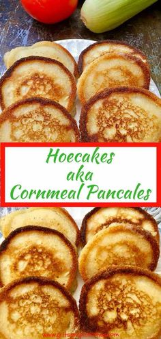 Quick and easy Hoe Cakes aka Cornmeal Pancakes are versatile little yellow miracles of crispy warm deliciousness! They can be served any time of day straight out of the skillet, but for breakfast, they ascend into the stratosphere of deliciousness with the addition of blackberry or maple syrup. #southernfood, #southernrecipes, #hoecakes, #cornmealpancakes via @gritspinecones