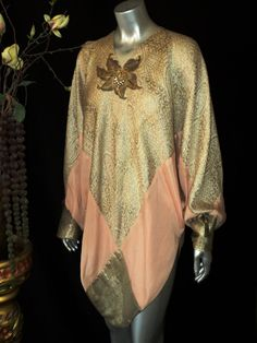 """1920s """"Bellasoiree Original"""" Art Deco Lame Tunic Chiffon with Beaded Floral Applique and Egyptian Tassels"""