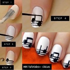 For the people who love music. This is an easy nail art, simple and beautiful