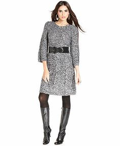 Style&co. Petite Dress, Three-Quarter-Sleeve Belted Sweaterdress
