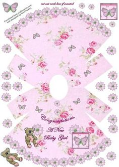 CUP660801_906 - Pretty 3D pink dress shaped card to welcome a new baby girl. Very easy to make.