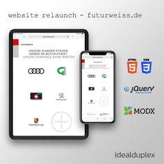 ⚙️ website relaunch with modx revo for advertising agency futurweiss. Print Design, Web Design, Advertising Agency, Corporate Design, Case Study, Web Development, Service Design, Wordpress, Germany