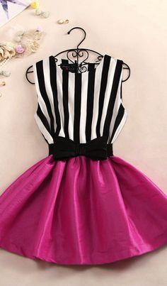 Black white stripped fuchsia dress with bow