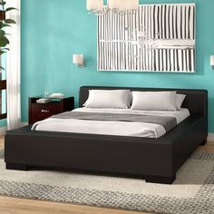 Wade Logan Mallory Upholstered Platform Bed & Reviews | Wayfair Bed Platform, Upholstered Platform Bed, Platform Bedroom, Panel Headboard, Panel Bed, Mattress Springs, Bed Mattress, Low Ceiling Bedroom, Bed Reviews