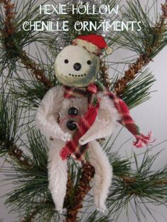 Handmade Primitive Christmas Ornaments | ... Primitive Santa Dog and Snowman Chenille Christmas Ornament Handmade