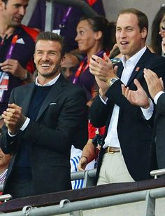 David Beckham and Prince William ~ The handsome Brits were all smiles in dapper suits as they stood up and cheered on their countrys Olympic soccer team at the game against the United Arab Emirates on Sunday, July 29, 2012. Eye Candy  Yummy Eye Candy    handsome guys picture handsome arab