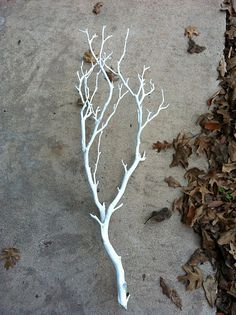 Spray paint branches white. This would look good in my outdoor planter by the door for Christmas ~t