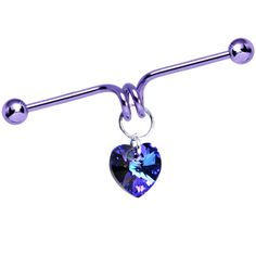 Purple Titanium Heart Dangle Coil Industrial Barbell 40mm #BodyCandy #industrial #scaffold #piercing