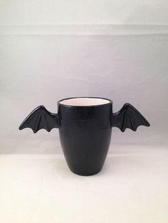 Small 8 ounce black bat cup Ceramic Pottery Tattoo Horror Halloween OHIO USA hand made