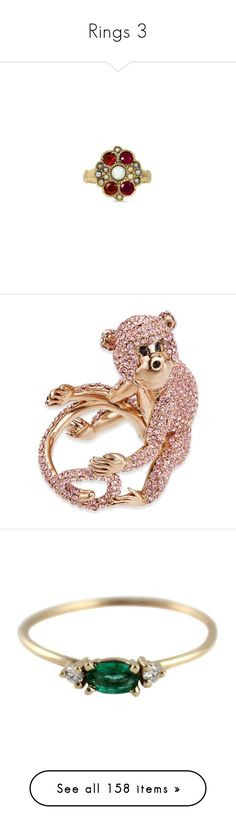 """""""Rings 3"""" by thesassystewart on Polyvore featuring jewelry, rings, victorian ring, victorian jewellery, engagement rings, victorian jewelry, victorian engagement rings, rose gold, monkey jewelry and kate spade"""